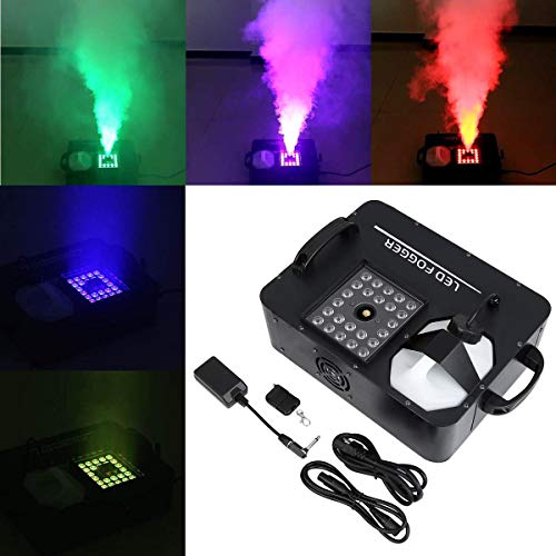 Tengchang 1500W Party Fog Machine RGB 3in1 24 LED Light DMX Smoke DJ Stage Show Wireless Remote ()
