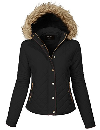 Comfortable Fur Trim Hood Quilted Padding Jackets 140-black Large