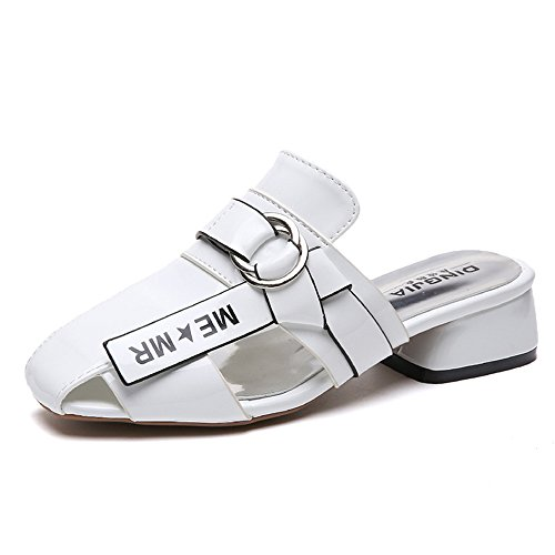 pit4tk Slippers Toe Mules Pointed White Flat Sandals Out Hollow Female Heel Casual Slides Summer Women rPFw8nqr4