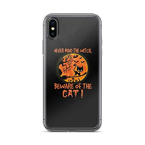 iPhone X/XS Pure Clear Case Cases Cover Never Mind The Witch - Beware of The Cat - Funny Halloween Quote Kitten Lover TPU Сlear Plastic Durable Cover