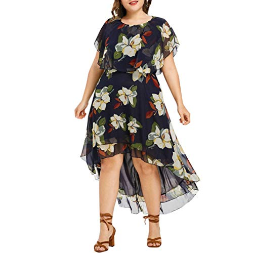 bead9e5b636 UOFOCO Plus Size Dress for Women Evening Party Dress Floral Asymmetry Maxi  Boho Cocktail