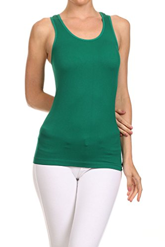 Ribbed Green Kelly (WHITE APPAREL Women's Basic Seamless Ribbed Racerback Tank KELLY GREEN)
