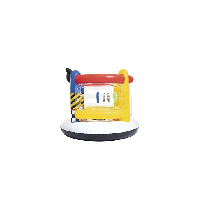 41iD0v57drL Está fabricada con vinilo resistente probado con paredes hinchables para mayor seguridad de los niños Incluye aros hinchables para que los más pequeños jueguen a encestar Tiene válvulas de seguridad para un inflado y desinflado fácil