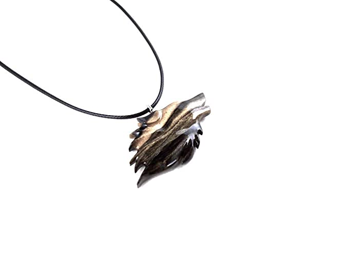 Spirit Animal Pendant Totem Pendant Wolf talisman Handcrafted Exotic Wood Pendant made of padauk and wenge Wolf Necklace