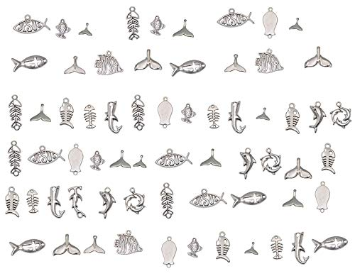 Yansanido 100 Gram Assorted Fish Silver DIY Antique Charms Pendant Mixed Charms Pendants Necklace Bracelet Wedding DIY Craft Making Accessory (100g Fish Silver)