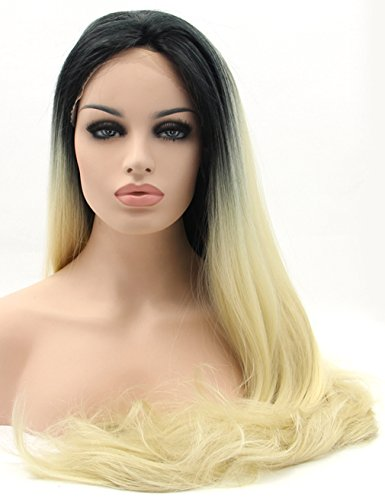 Riglamour Ombre Synthetic Blonde Lace Front Wig Dark Roots Natural Straight Long Wigs Half Hand Tied for Women Heat Resistant Wig 100% Fiber Hair 2 Tones (20 Inches)