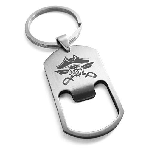 - Tioneer Stainless Steel Jolly Roger Skull Pirates Cross Swords Engraved Bottle Opener Dog Tag Keychain Keyring
