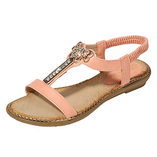 LIM&Shop Women Summer Ladies Gladiator Comfort Flat Sandals Slingback T-Strap Rhinestone Ankle Strap Thong Sandals Pink ()