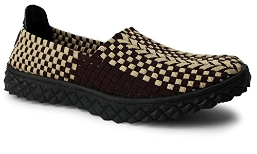 Froon Mujeres Woven Flat Mary Jane Zapatos Slip On Brown