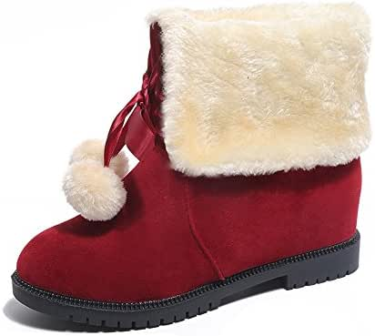LONGDAY ⭐ Women Cute Warm Short Boots Suede Chunky Mid Heel Round Toe Winter Snow Ankle Booties Two Tone Comfortable