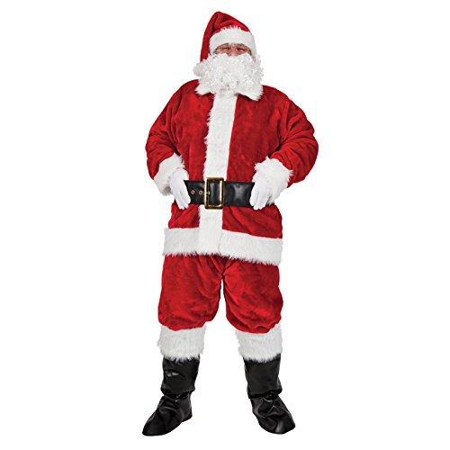 "Luxury Plush 8 Piece Santa Outfit - Adult Costume Man: L (Chest: 44"")"