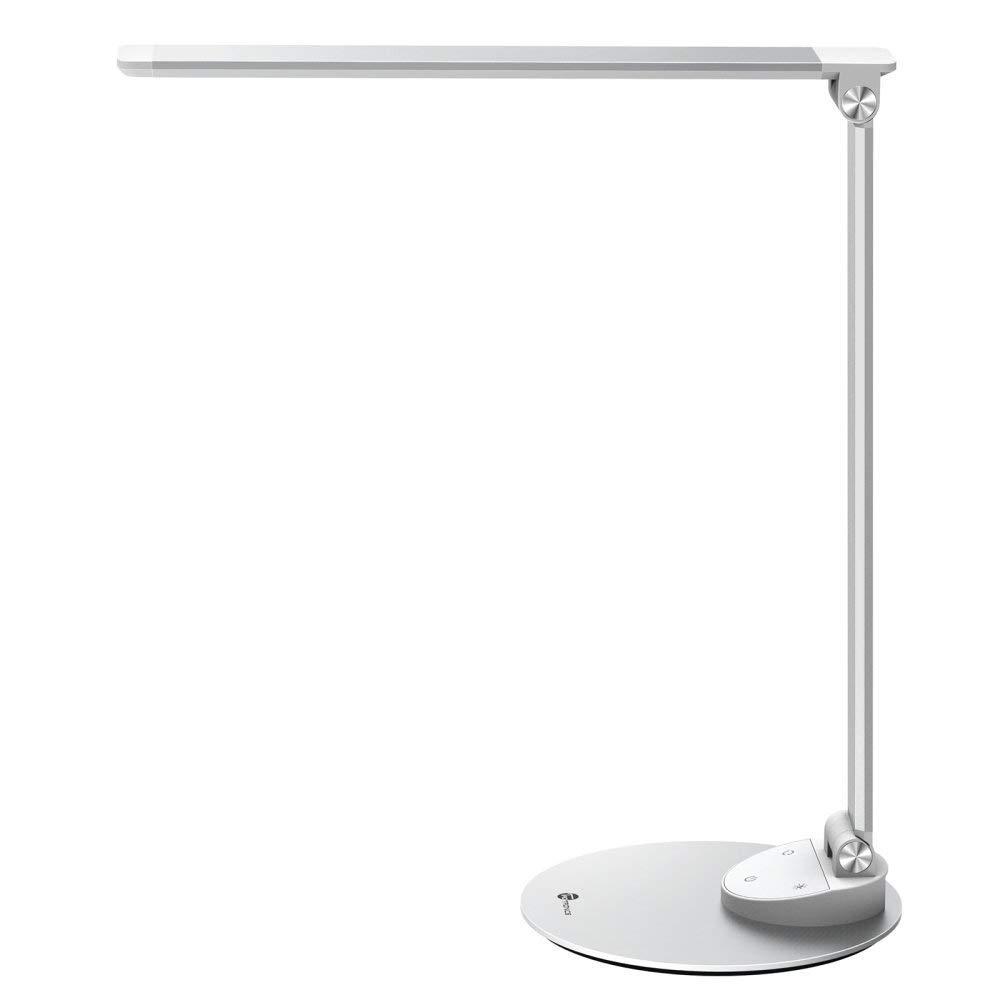 TaoTronics LED Schreibtischlampe Metall Tageslichtlampe, 5 Helligkeitsstufen und 5 Farbtemperaturen–3000K 3500K 4000K 5000K und 6000K, Ultradünne Alu, Blendfrei, Merkfunktion, USB-Ladeanschluss 5V 1A
