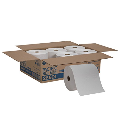 Pacific Blue Basic Recycled Paper Towel Rolls (previously branded Envision) by GP PRO (Georgia-Pacific), White, 26601, 800 Feet Per Roll, 6 Rolls Per Case