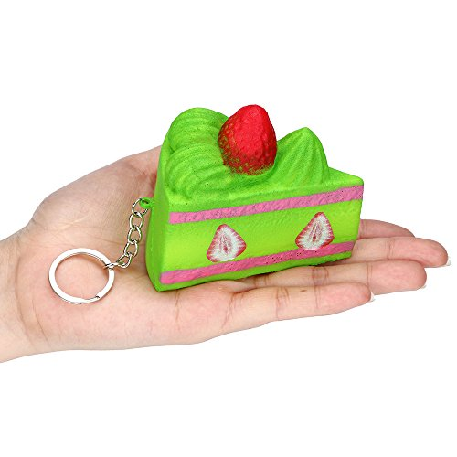 2019HoHo Stress Relief Toys Green Strawberry Cake Squeeze Toys Fidget Toys Slow Rising Vent Toys for Adults -