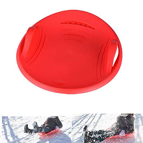 Myfreed Snow Saucer Sleds Downhill Xtreme Winter Toboggan Outdoor Snow Sled Flexible Flying Saucer for Kids and Adult Red