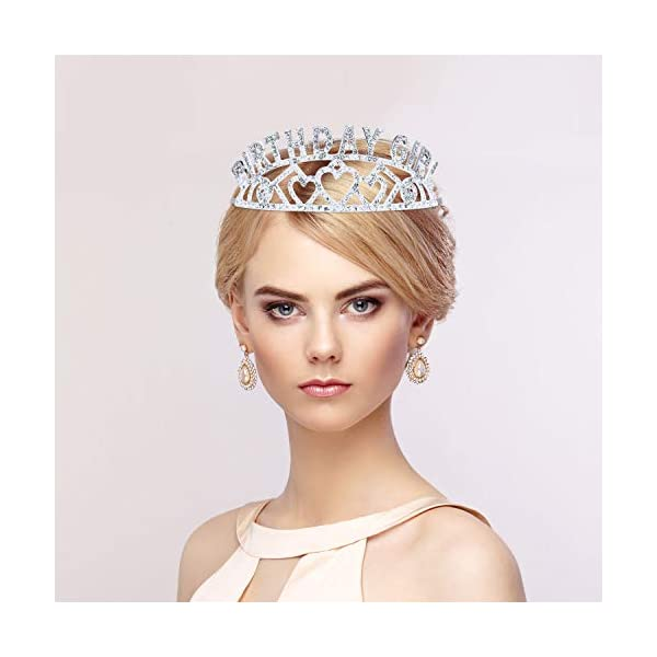Chengu Birthday Glitter Crown Girl Rhinestone Crystal Decor Headband with Birthday Beautiful Girl Sash