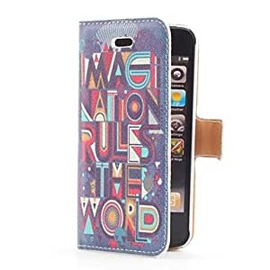 TOPMM Imagination Rules the World Style Flip Leather Case with Stand and Card Slot for iPhone 5/5S