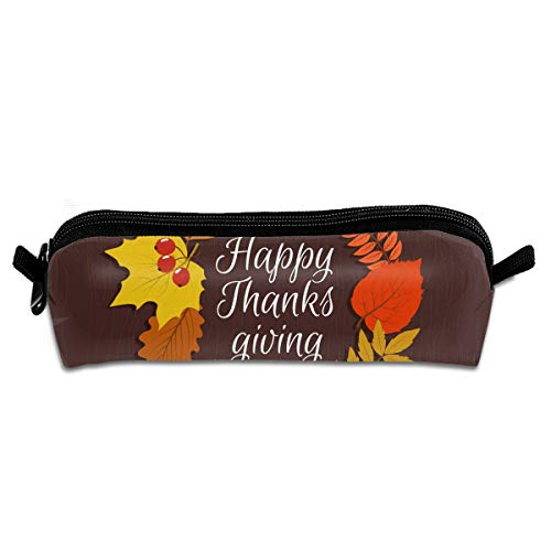 GGlooking Portable Pencil Pouch Happy Thanksgiving Simple Zipper Bag,Pen Case Office School Supplies Organizer Stationery -