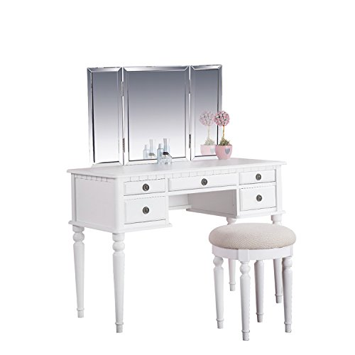"""Houseables Trifold Vanity Mirror, 3 Way, 31"""" x 1"""" x 21"""", Single, Tri Fold, Big Mirrors For Tables, Bedrooms, Bathroom, Makeup, Tabletop, Centerpiece, Three Part, With Beveled Edges by Houseables (Image #4)"""