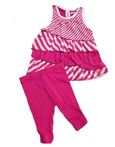 91487e71b DKNY Baby Girls 039; Pink and White Striped Legging Pant Set -24 Months:  Amazon.in: Baby