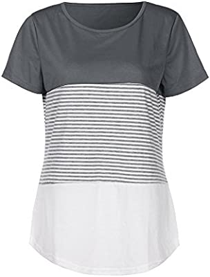 Blusas Camisetas Mujer Verano, MINXINWY Camisetas Mujer Manga Corta Camiseta Casual de Mujeres Camiseta Playa de Viaje Top Cosido en Color Liso Top Rayas 2019: Amazon.es: Deportes y aire libre