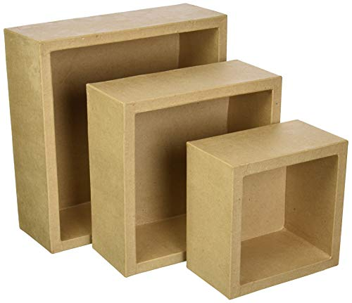 Darice 30044814 Square Paper Mache Natural