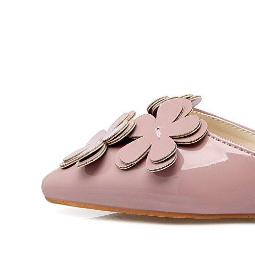Allhqfashion Womens Wees Gesloten Teen Trek Op Microfiber Solide Lage Hakken Pumps Schoenen Roze