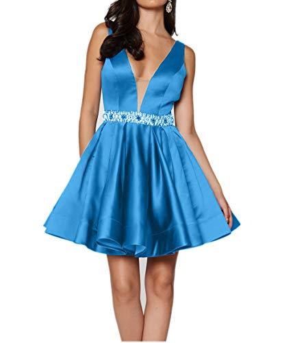 v Tief Cocktailkleider Festlichkleider Charmant Damen Kurz Partykleider Linie Blau Blau Abendkleider Ausschnitt Rock A qpEUntw