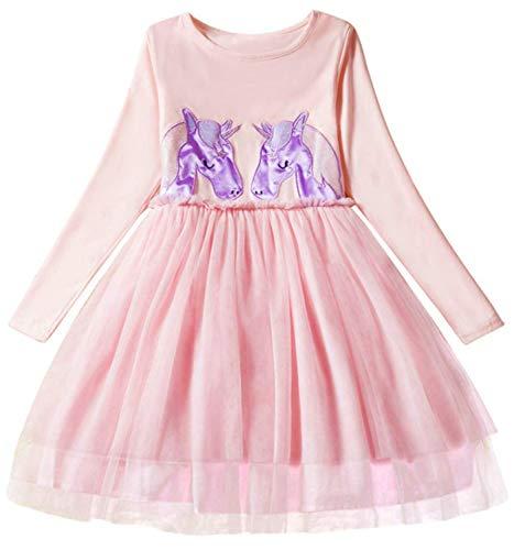 TTYAOVO Little Girls Longsleeve Unicorn Cartoon Casual Dress Size 3-4 Years Pink ()