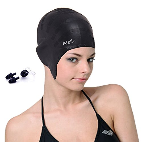 #1 TOP RATED SWIM CAP Atelic® Swim Cap Equipment Silicone Solid Swim Caps with free Nose Clip and Ear Plugs for Adult Women Men Youth