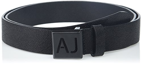 Armani Exchange Men's Leather Belt with Stenciled Logo On Buckle, Black, 31