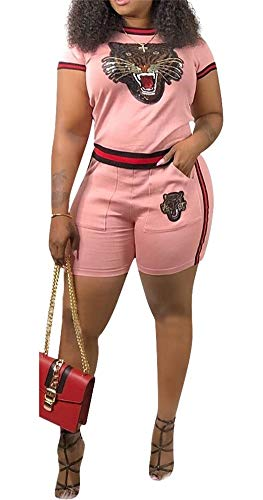 (LETSVDO Womens 2 Piece Tracksuit Tiger Print Short Sleeve Crop Top and Shorts Set Outfits Romper)