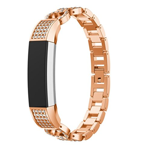 Allies Watch Ladies (HP95(TM) For Fitbit Alta Accessories, Women Luxury Alloy Crystal Watch Strap For Fitbit Alta HR/Fitbit Alta (Rose Gold))