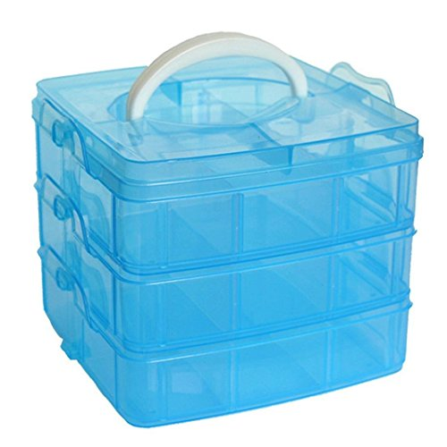 Stack Craft Storage Box - MINGHU 3-Tier Transparent Stackable Adjustable Compartment Slot Plastic Craft Storage Box Organizer Snap-lock Tray 3 Sizes 4 Candy Colors Available (Medium 18 Compartment, Blue)