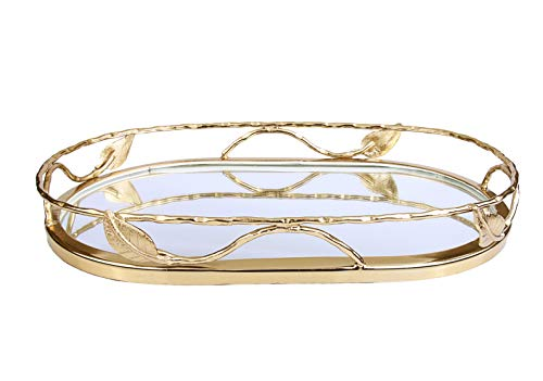 Beautiful Oval Shaped Mirror Tray with Gold Leaf Design, Elegant Oval Vanity Tray with Side Bars, Makes A Great Bling Gift ()