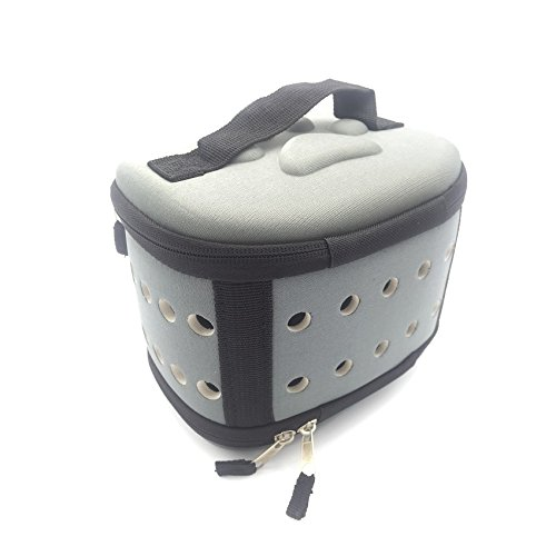 Portable Mini Poodle Puppy Carrier Hamster Cage - Cute Travel Carrier Hard-sided Cage for Small Animal Puppy Kitty Hedgehog (Grey) by Petall (Image #2)