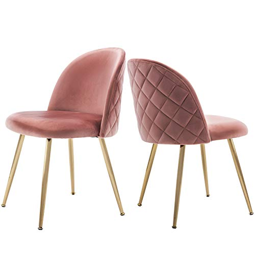 Velvet Pink Living Room Chairs, Vanity Chairs Accent Upholstered Makeup Chairs with Gold Plating Metal Legs for Bedroom/Dinning Room/Kitchen/Vanity/Patio, Set of 2 (Dusty - Bedroom For Set Modern Vanity