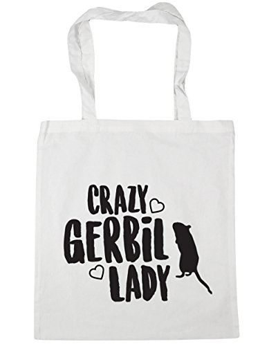 litres gerbil Shopping Beach lady Crazy x38cm Bag 42cm 10 Gym White HippoWarehouse Tote F6xqPwRAA