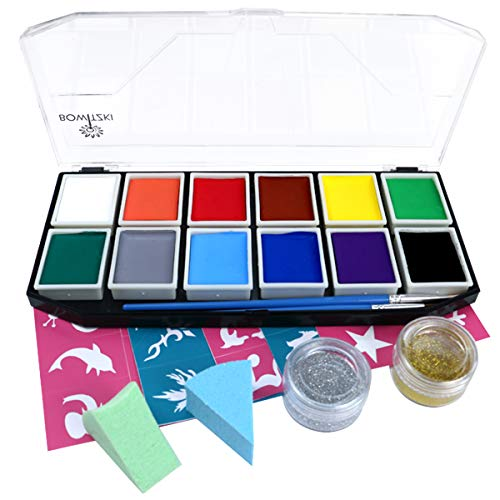 Face Paint Kit, Bowitzki 12 Vibrant Colors 2 Glitter 2 Brushes 40 Stencils 2 sponges,Non Toxic Hypoallergenic Water Based FDA Compliant Professional Halloween Painting Set for Kids ()