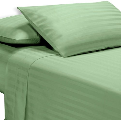 Exotic Bedware 100% Cotton 600 Thread Count 4 PC Attached Waterbed Sheet (With Pole Attachements) King Size - Stripe Sage -