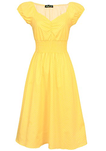 Sidecca Retro Sweetheart Neck 1950s Smock Vintage Style Dress (Medium, Mini Polka Dot Yellow)