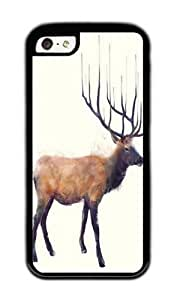 Apple Iphone 5C Case,WENJORS Personalized Elk Reflect Soft Case Protective Shell Cell Phone Cover For Apple Iphone 5C - TPU Black