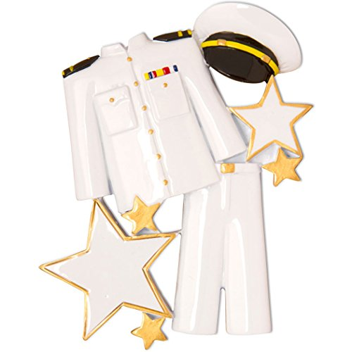 Uniform Naval (Personalized Naval Uniform Christmas Ornament - Armored Forces Serviceman Formal Coat Hat Stars - Brave Proud Gender Neutral Maritime Navy Sailor Anchor New Job -Free Customization by Elves)