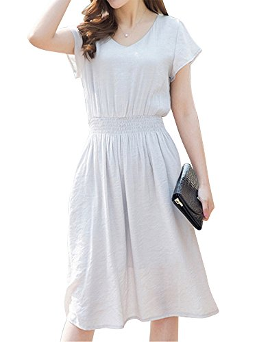 Linen Waist Mini Neck Women Skater Dress V Slim Navy Stretch High 6qYtf