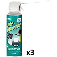 3 x Dust-Air 400ml Compressed Air Duster Can for PC Laptop Camera CFC Free 2X