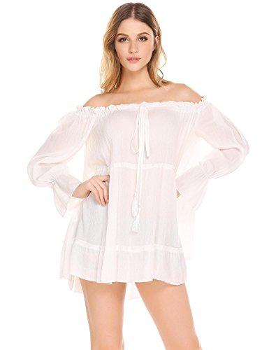 Soteer Des Femmes De L'épaule De Chemise En Tête Mousseline Lâche À Manches Longues Blouse Blanche Sexy Volants
