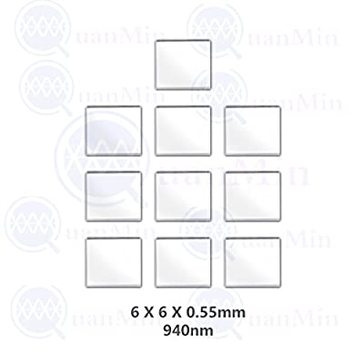 Quanmin 10pcs/1 Lot 6mm×6mm×0.55mm 940nm IR Infrared Narrow Bandpass Filter Optical Glass FWHM NBF940 for Camera Lense and Face Recognition