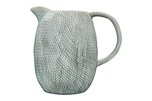 - Creative Co-op Embossed Blue Stoneware Pitcher,