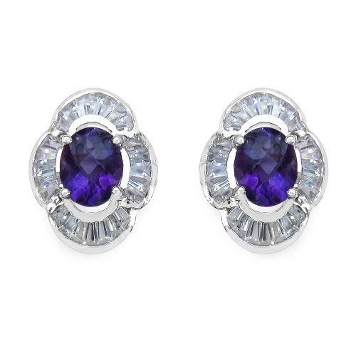 4.00 Carat Amethyst and White Topaz Earrings in .925 Sterling Silver