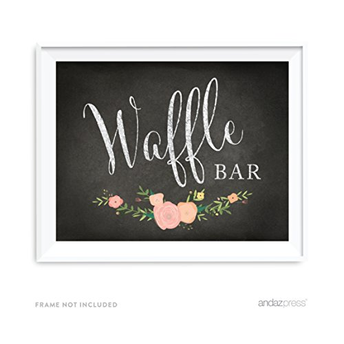 (Andaz Press Wedding Party Signs, Chalkboard Pink Coral Floral Roses Print, 8.5x11-inch, Waffle Bar Reception Dessert Table Sign, 1-Pack)